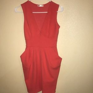 Pink deep v dress with pockets size small